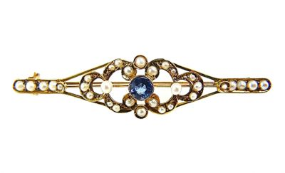 Sapphire and Seed Pearl Edwardian Bar Brooch