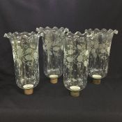 Set of Four Antique Glass Hurricane Shades