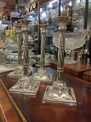 Set of Four Late Victorian Column Candlesticks