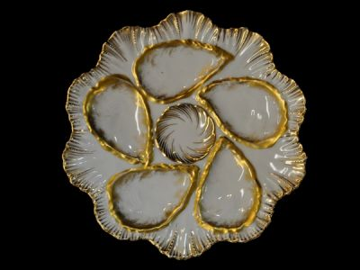 Set of White and Gold Limoges Oyster Plates  Oy005