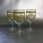 Vintage Acid Etched Sherry/Port Glasses Set of 9