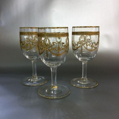 Set of nine Acid Etched Sherry Port Glasses