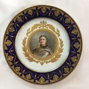 Sevres Hand Painted & Gilded Portrait Cabinet Plate