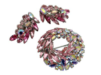 Sherman Brooch and Earring Set Pink