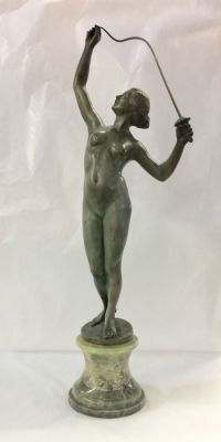 Bronze Sculpture of Female Nude Fencer Signed Austria Birks