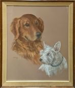 Signed Pastel Portrait of Two Dogs, Stella Grier 1968