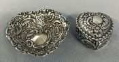 Silver Heart Ring Box & Pin Tray