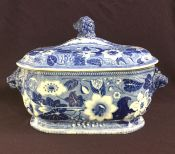 Staffordshire Blue & White Transfer Ware Botanical Pattern 2 Piece Soup Tureen