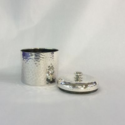 Sterling Silver Hand Hammered Tea Caddy  Theodore B
