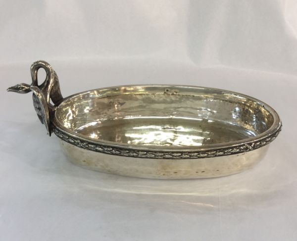Sterling Silver Dish With Swan Handle
