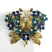 Tiffany Diamond and Enamel Floral Brooch
