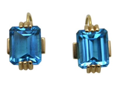 Topaz Jewellery/Earrings 14karat Yellow Gold Blue Topaz Custom Made 1 Cynthia Findlay Antiques