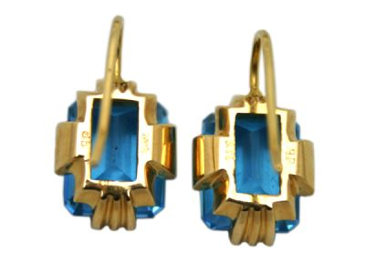 Earrings 14Karat Yellow-Gold Blue Topaz Custom Made