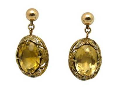 Topaz Jewellery/Earrings 14karat Yellow Gold Citrine 1 Cynthia Findlay Antiques