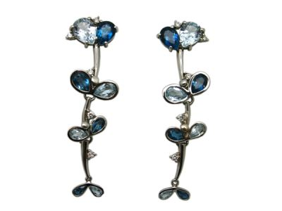 Topaz Jewellery/Earrings 18karat White Gold Blue Topaz 1 Cynthia Findlay Antiques