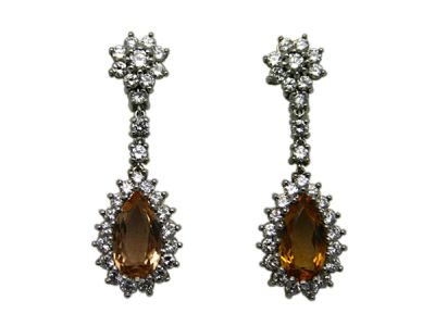 Topaz Jewellery/Earrings 18karat White Gold Orange Topaz and Diamond 1 Cynthia Findlay Antiques