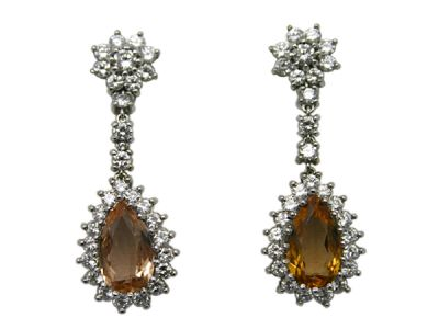 Topaz Jewellery/Earrings 18karat White Gold Orange Topaz and Diamond Cynthia Findlay Antiques