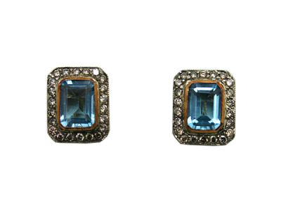 Topaz Jewellery/Earrings 18karat Yellow Gold and Silver Aquamarine and Diamond 64841 1 Cynthia Findlay Antiques