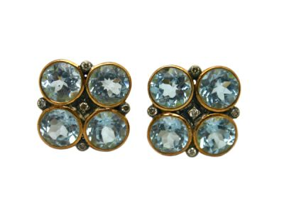 Topaz Jewellery/Earrings 18karat Yellow Gold and Silver BlueTopaz and Diamond 63966 1 Cynthia Findlay Antiques