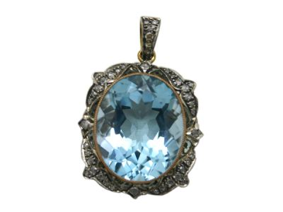 Topaz Jewellery/Pendant 18karat Yellow Gold and Silver Top Blue Topaz and Diamond 1 Cynthia Findlay Antiques