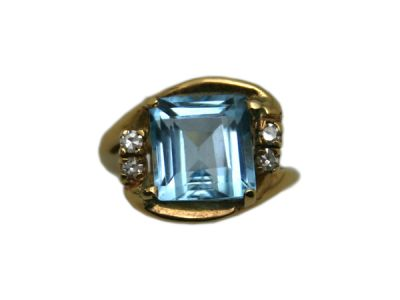 Topaz Jewellery/Ring 14Karat Yellow Gold Blue Topaz and Diamond 1 Cynthia Findlay Antiques