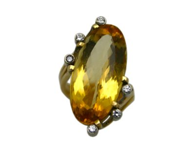 Topaz Jewellery/Ring 14karat Yellow and White Gold Yellow Topaz 1 Cynthia Findlay Antiques