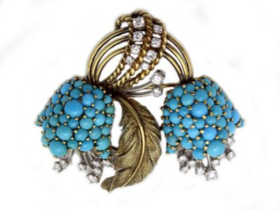 Vintage Turquoise and Diamond Brooch