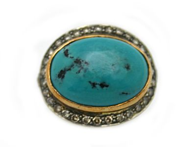 Turquoise Jewellery/Ring 18karat Yellow Gold and Sterling Turquoise and Diamond 63803 1 Cynthia Findlay Antiques