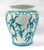 Turquoise On Cream Faience Art Pottery Vase, Circa 1920-30s