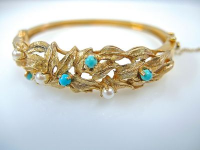 Turquoise Pearl Floral Bracelet CFA140685 78077