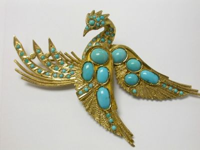 Turquoise Pheasant Brooch CFA1312395