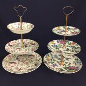 Two Vintage 3 Tier Cake Stands