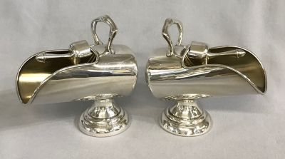 Two Vintage Silver Plate Coal Scuttle Form Sugar Bowls 1