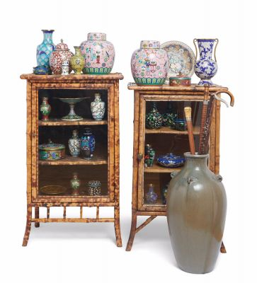 Victorian Bamboo Vitrines, Cloisonné, Art Pottery and Canes