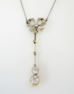 Victorian Diamond Bow Necklace
