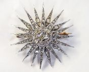 Victorian Diamond Starburst Brooch