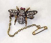 Victorian Diamond and Ruby Fly Brooch