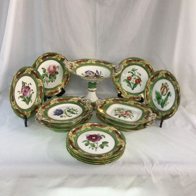 Victorian-Hand-Painted-English-Dessert Service-l