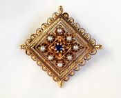 Victorian Sapphire and Seed Pearl Brooch