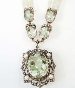 Victorian Style Prasiolite Diamond Pearl Necklace
