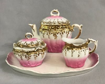 Victorian 4 Piece Porcelain Child's Tea Set