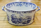 Victorian Blue and White Chinese Pagoda Scene Foot-Bath