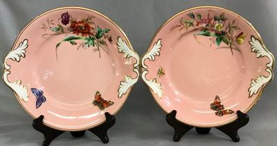 Victorian Cake Plates  Hand Painted With Butterflies  Insects   Flowers aba