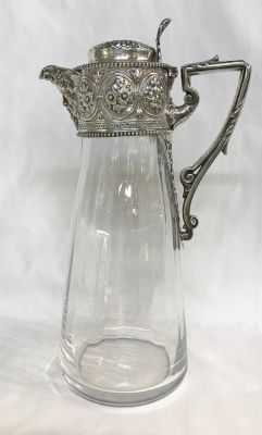 Victorian Claret Jug With Sterling Silver Mounts