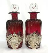 Victorian Cranberry Glass Decanters In Silver Plate Frames