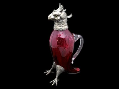 Victorian Cranberry Glass Exotic Bird Claret Jug  CG008 REVISED