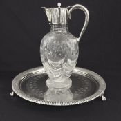Victorian Cut Crystal Claret Jug & Footed Salver