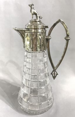 Victorian Cut Glass Claret Jug With Silver Plate Mounts 2