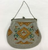 Victorian Embroidered and Silver Beaded Purse