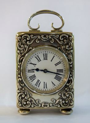 Victorian English Silver Carriage Clock  Birmingham  C